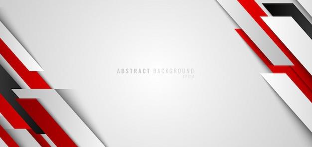 Bannière abstraite web fond blanc géométrique rouge et blanc
