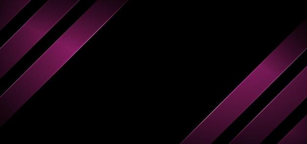 Bannière abstraite web rayures diagonales géométriques de couleur rose avec éclairage sur fond noir.
