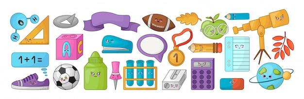Bannière d'accessoires kawaii pour la rentrée scolaire