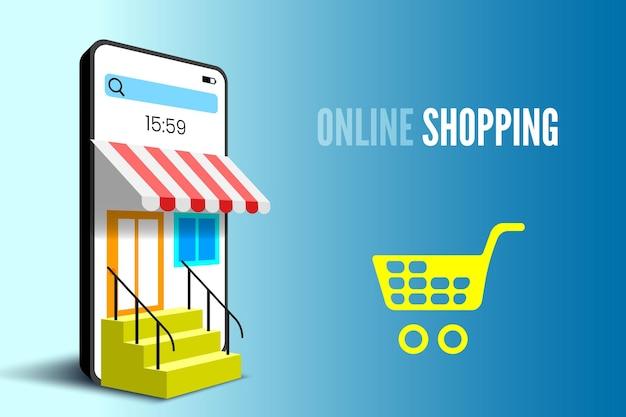 Bannière d'achat en ligne avec des escaliers pour smartphone et panier illustration vectorielle