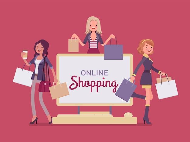 Bannière d'achat en ligne avec des femmes heureuses