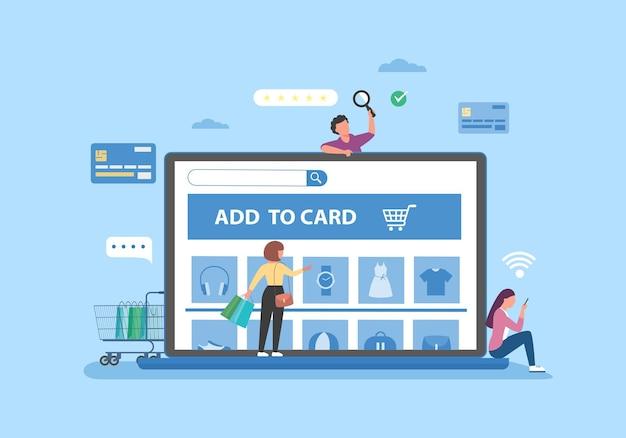 Bannière d'achat en ligne, modèles d'applications mobiles, design plat concept