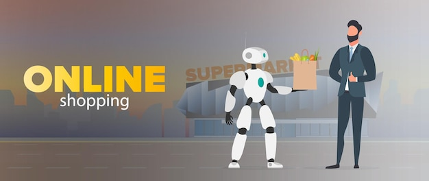 Bannière d'achat en ligne. le robot tient un sac avec des provisions. livraison de nourriture par des robots. l'homme d'affaires montre le pouce vers le haut. concept de livraison future. vecteur.
