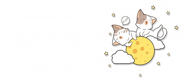 Bannière d'adorables chats dorment sur la lune