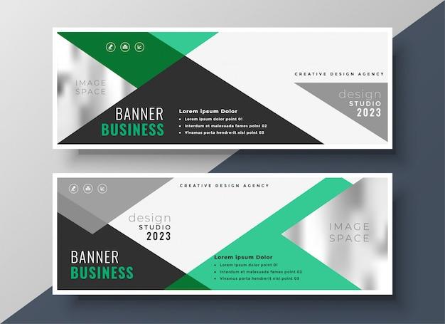 Bannière d'affaires abstraites de présentation verte moderne
