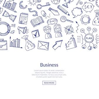 Bannière d'affaires avec des icônes de doodle