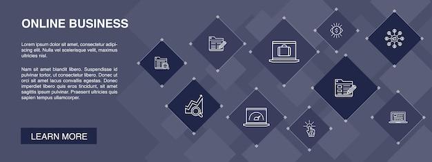 Bannière d'affaires en ligne 10 icônes concept.pay per view, bande passante, page de destination, icônes simples de référencement