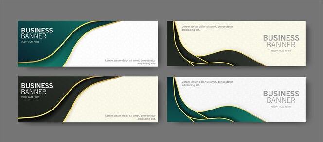 Bannière d'affaires de luxe avec design de vague