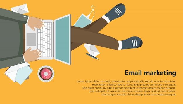 Bannière d'affaires de marketing par courriel