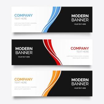Bannière d'affaires moderne avec des vagues