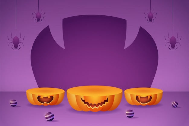 Bannière d'affichage de produit 3d avec podiums de citrouille, boule violette et araignée