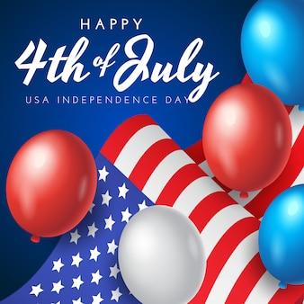 Bannière, affiche ou carte de voeux du jour de l'indépendance américaine avec drapeau national et ballons sur fond bleu, illustration