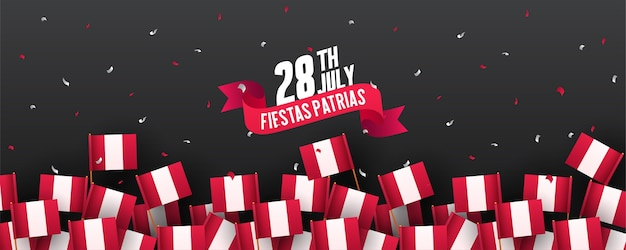 Bannière ou affiche de la célébration de la fête de l'indépendance du pérou