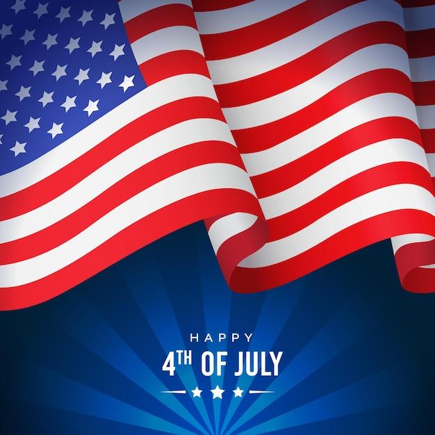 Bannière ou affiche de la fête de l'indépendance américaine avec drapeau national sur bleu