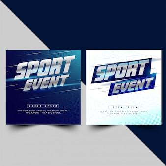 Bannière ou affiche pour deux options sportives