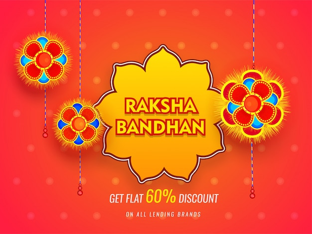 Bannière ou affiche de raksha bandhan sale avec 60% de remise sur un fond orange brillant.