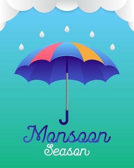 Bannière ou affiche de la saison des moussons
