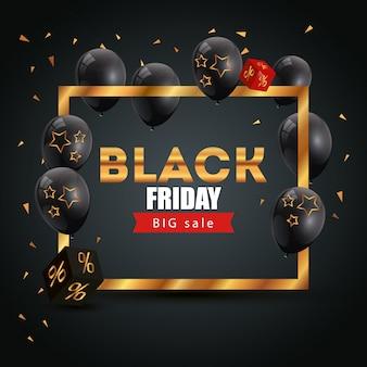 Bannière affiche de vendredi noir avec grande offre lettrage