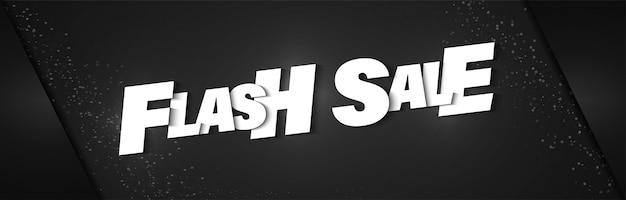 Bannière affiche de vente flash avec fond noir et lettrage réaliste.