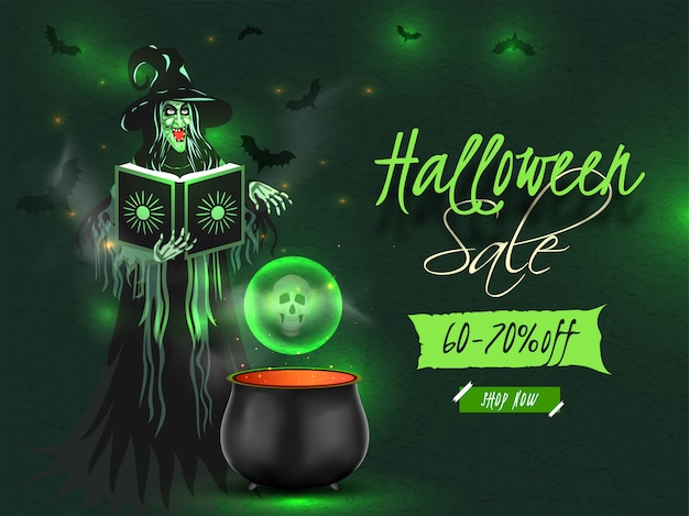 Bannière ou affiche de vente halloween avec offre de réduction de 60 à 70% et sorcière lisant un livre de potions magiques avec chaudron sur effet de lumière verte.