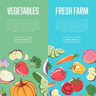 Bannière agricole écologique naturelle avec des légumes