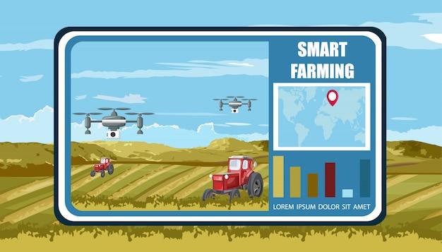 Bannière agricole intelligente avec drones et tracteurs sans pilote