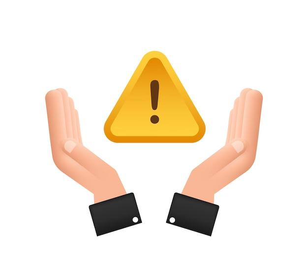Bannière avec alerte d'arnaque jaune sur les mains signe d'attention icône de cybersécurité