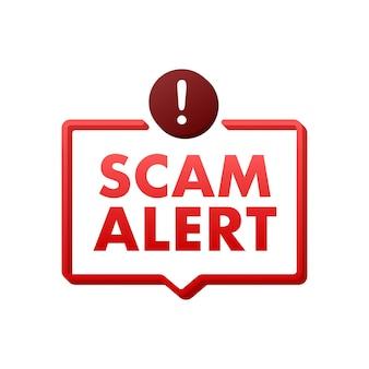 Bannière avec alerte arnaque rouge signe d'attention icône de cybersécurité autocollant de signe d'avertissement attention
