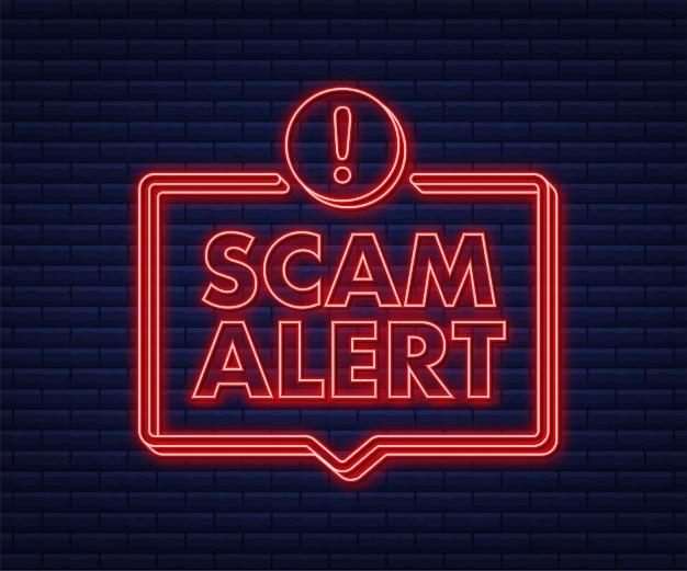Bannière avec alerte arnaque rouge signe d'attention icône néon autocollant de signe d'avertissement attention avertissement plat
