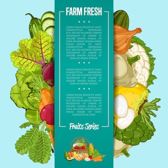 Bannière alimentaire ferme fraîche avec des légumes