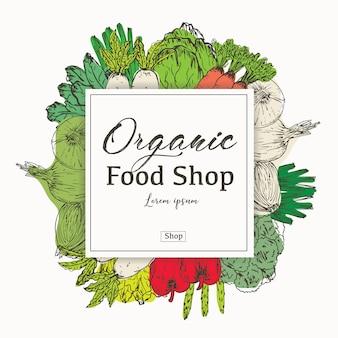 Bannière d'aliments biologiques dessinés à la main. herbes et épices biologiques. dessins d'aliments sains à vendre. illustration vectorielle