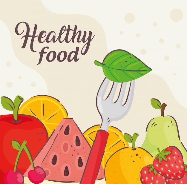Bannière d'aliments sains, avec des fruits frais
