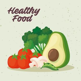 Bannière des aliments sains, avec des légumes frais, concept des aliments sains