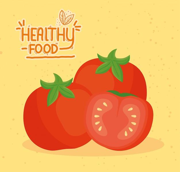 Bannière des aliments sains avec des tomates fraîches, concept des aliments sains