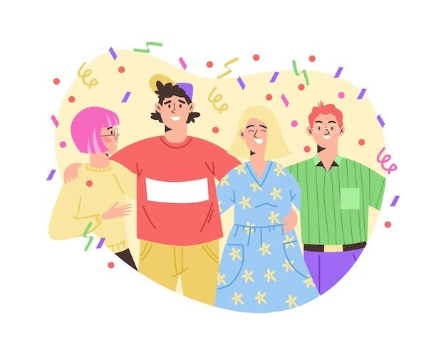 Bannière avec des amis célébrant l'illustration vectorielle plane d'un événement conjoint isolé
