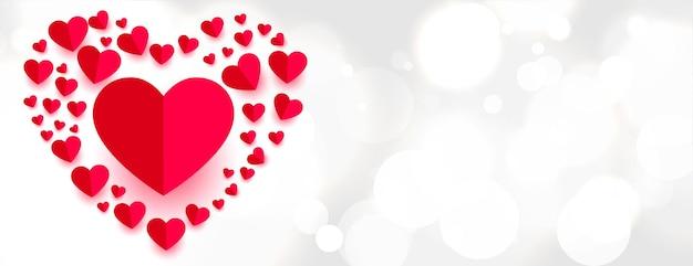 Bannière d'amour de style coeurs en papier magnifique