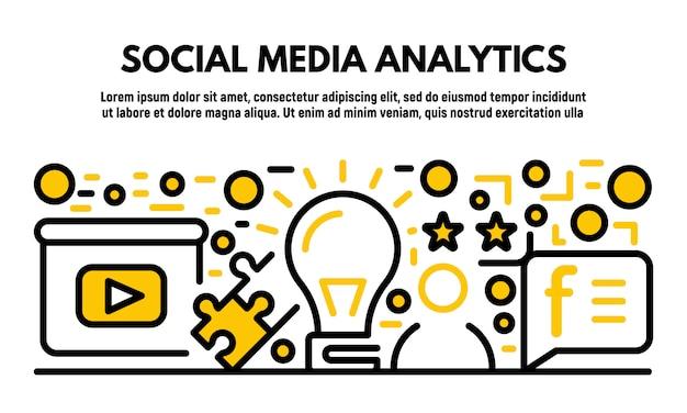 Bannière d'analyse des médias sociaux, style de contour