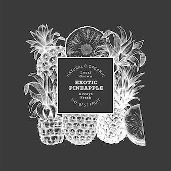 Bannière d'ananas de style croquis dessinés à la main. illustration vectorielle de fruits frais biologiques à bord de la craie. modèle de conception botanique.