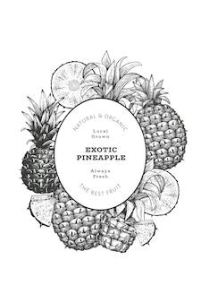 Bannière d'ananas de style croquis dessinés à la main