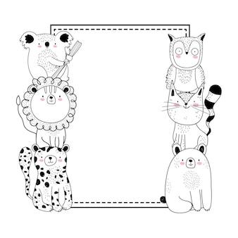 Bannière et animaux de croquis de dessin animé