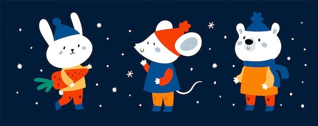 Bannière d'animaux de dessin animé drôle mignon