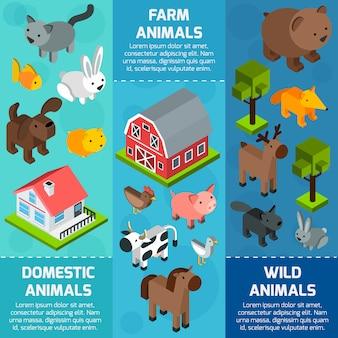 Bannière animaux isométrique