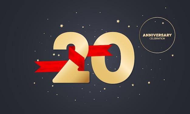 Bannière anniversaire 20 ans avec ruban rouge sur blanc. célébration des vingt ans. modèle d'affiche ou de brochure. vecteur eps 10. isolé sur fond.