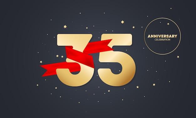 Bannière anniversaire 35 ans avec ruban rouge sur blanc. célébration des trente-cinq ans. modèle d'affiche ou de brochure. vecteur eps 10. isolé sur fond.