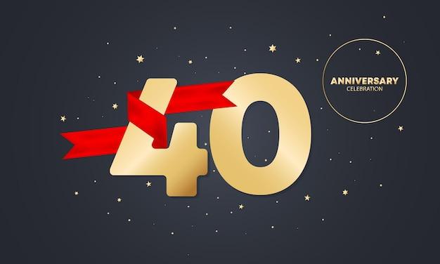 Bannière anniversaire 40 ans avec ruban rouge sur blanc. célébration des 40 ans. modèle d'affiche ou de brochure. vecteur eps 10. isolé sur fond.