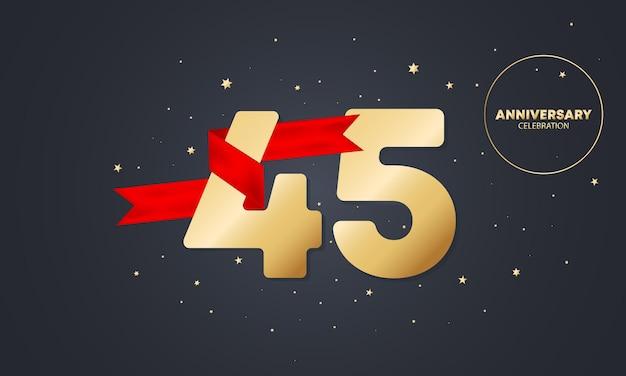 Bannière anniversaire 45 ans avec ruban rouge sur blanc. célébration des 45 ans. modèle d'affiche ou de brochure. vecteur eps 10. isolé sur fond.