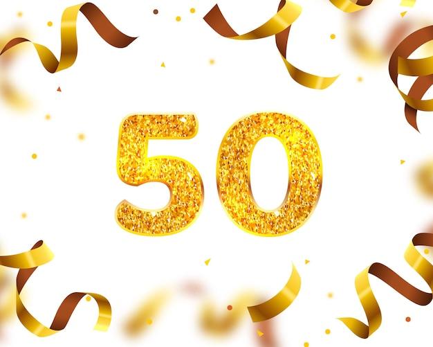 Bannière d'anniversaire 50e, mouche de ruban d'or. illustration vectorielle