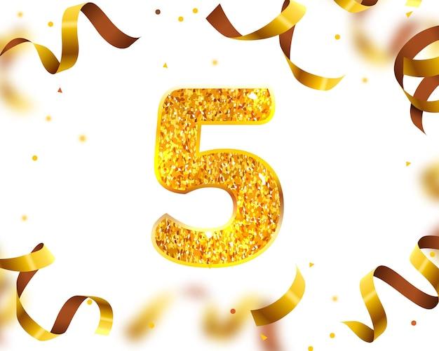 Bannière d'anniversaire 5e, mouche de ruban d'or. illustration vectorielle