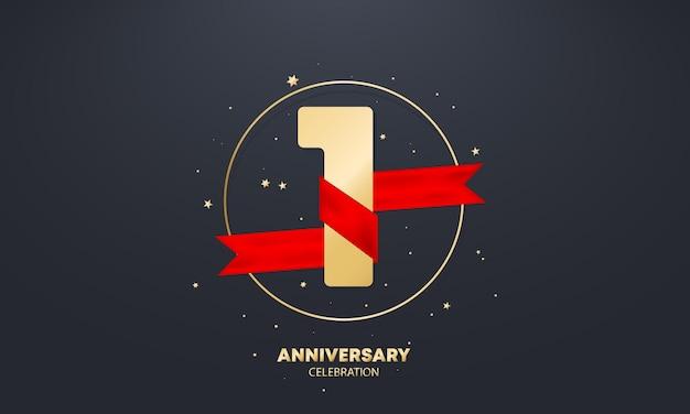 Bannière d'anniversaire d'un an avec ruban rouge sur blanc. modèle d'affiche ou de brochure. vecteur eps 10. isolé sur fond.