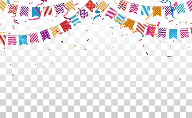 Bannière d'anniversaire et de célébration avec des confettis colorés